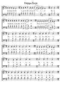 Тропарь Пасхи – ноты обиходных праздничных песнопений